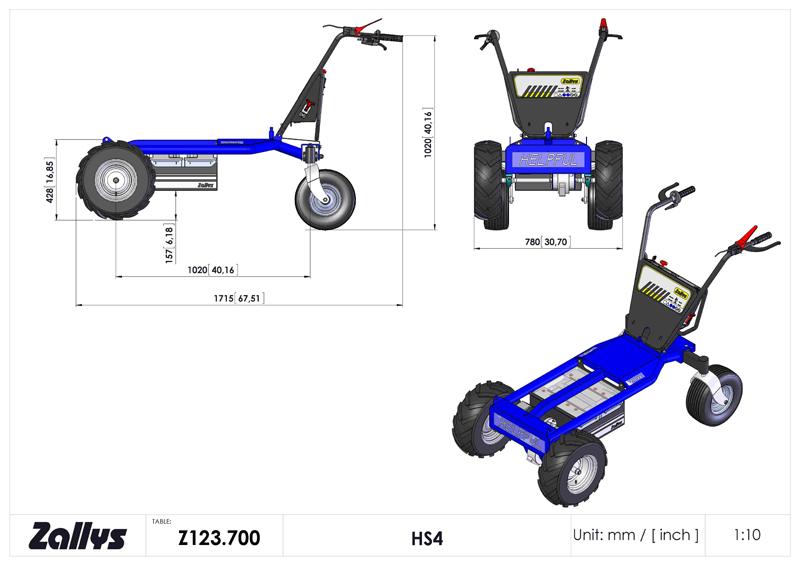 Zallys HS4 carrello elettrico passo 1000
