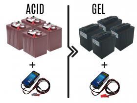 Differenza prezzo per cambio batterie e carica batterie da 180/240A acido a 180/240A GEL