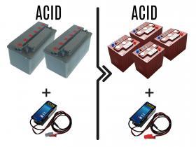 Differenza prezzo per cambio batterie e carica batterie da 72/96A acido a 180/240A acido