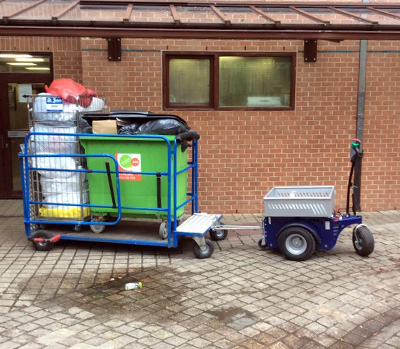 Zallys M4 electric tugger for moving heavy trolleys for recycling