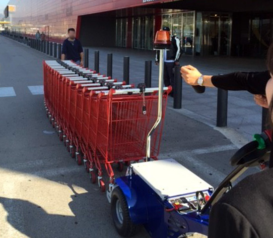 Zallys M9 electric cart pusher with remote control to move shopping carts in supermarkets areas