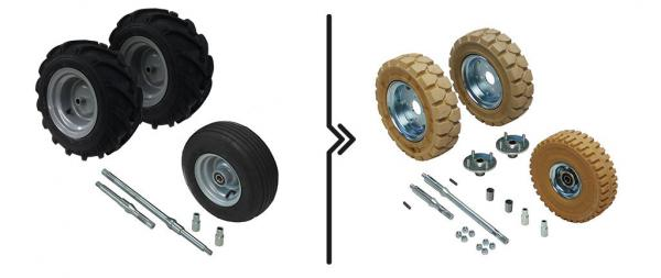 Price diff. for reinforced axles and from standard to non-marking wheels (3 wheels)