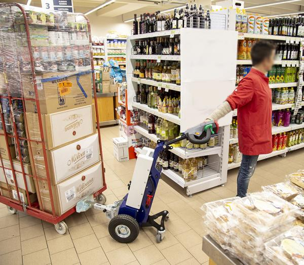 Zallys M1 cart mover to move roll-box trolleys in supermarkets