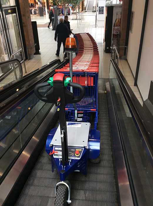 Zallys M9 electric cart pusher with remote control to move shopping trolleys on mobile supermarket ramps