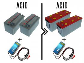 Differenza prezzo per cambio batterie e carica batterie da 72/96A acido a 126/167A acido