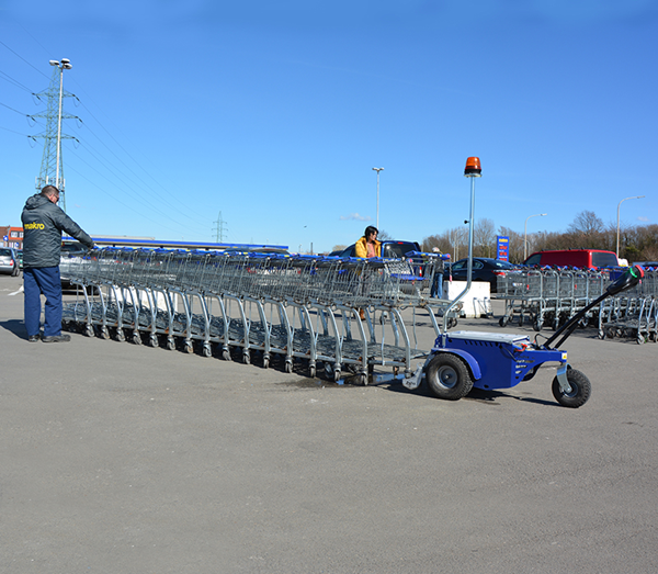 Zallys M9 electric cart pusher with remote control with remote control to move shopping trolleys in supermarkets