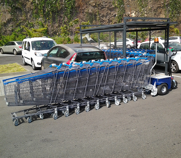 Zallys M9 electric cart pusher with remote control to move shopping trolleys in mall parking lot