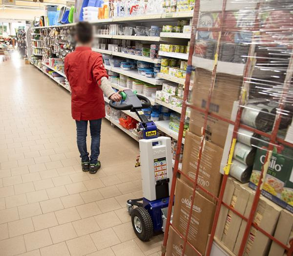 Zallys M1 cart mover for towing roll box trolleys in supermarkets