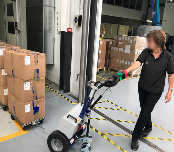 Zallys M12 electric driver to move four wheel trolleys to hospitals