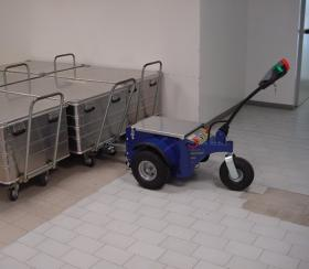 Zallys M4 electric tugger handles multiple hospital carts