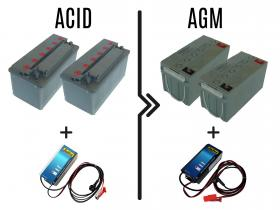 Differenza prezzo per cambio batterie e carica batterie da 72/96A acido a 50/70A AGM