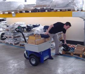 Zallys M9 cart puller to transport spare parts during picking activities in warehouses