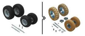 Differenza prezzo per semiassi rinforzati  e ruote superelastiche antitraccia (portata 1000 kg)