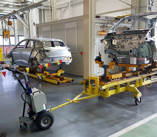 Zallys M12 battery-powered trolley for towing vehicle chassis in automotive companies