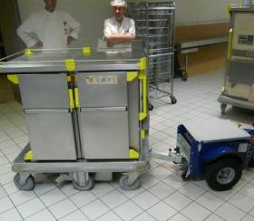 Zallys M4 electric tugger for moving heavy carts in hospitals