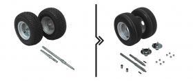 Differenza per semiassi rinforzati e cambio ruote da standard a rigate (portata 1000 kg)