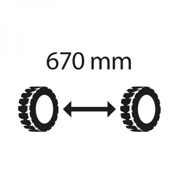 Differenza prezzo per larghezza carreggiata 670 mm