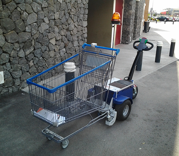 Zallys M9 electric cart pusher with remote control to move shopping trolleys in supermarkets