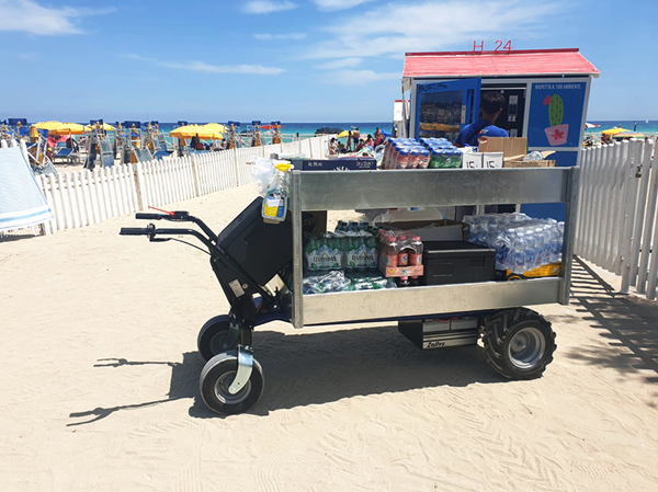 Zallys HS4 L electric trolley for the transport of drinks on beaches